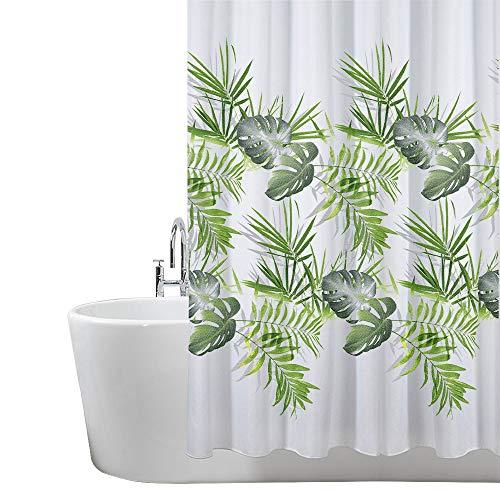 ANSIO - Cortina de ducha, poliéster, Patrón de hojas: verde palma., 180 x 180 cm