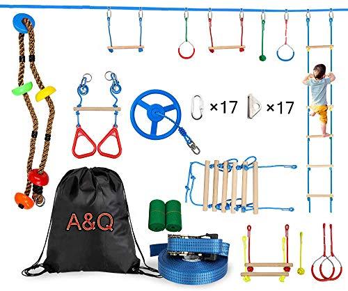 A&Q Ninja Obstacle Course Line Kit, Ninja Slackline Monkey Bar Kit Slackline - Juego De Accesorios para Slackline para Niños (15 M)