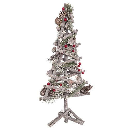 Árbol de Navidad de Madera Natural marrón con Acebo nórdico para decoración navideña de 55 cm Christmas - LOLAhome