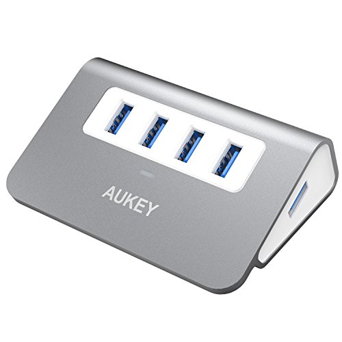 AUKEY Hub USB 3.0 4 Puertos Aluminio SuperSpeed 5Gbps con Cable USB 3.0 50cm y LED para Apple MacBook, Macbook Air, Macbook Pro, iMac y Ordenador Portátil (Gris)