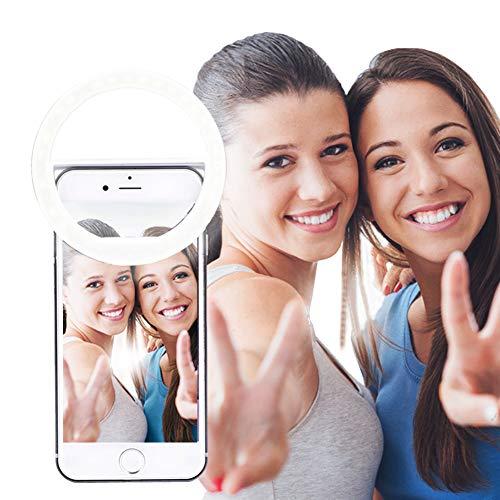 AUTOPkio Selfie la luz del Anillo, la iluminación Recargable Selfie suplementario Mejora Nocturna Oscuridad Selfie 36 del Anillo de luz LED USB para la fotografía teléfonos Inteligentes (Blanco)