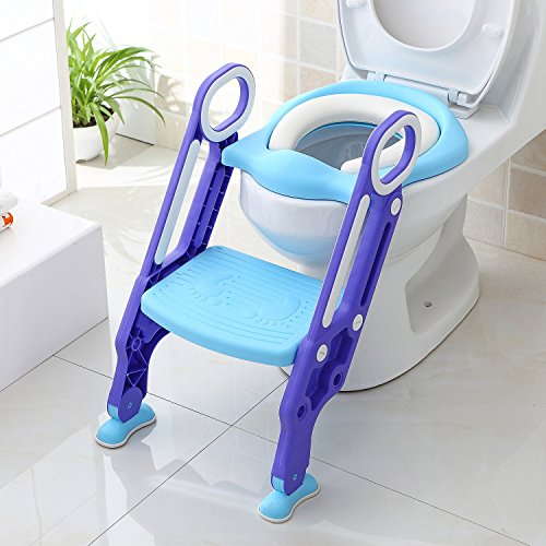 Bamny Adaptador WC Niños con Escalera, Asiento Inodoro Niños Ajustable para Orinal Infantil Formación, Seguro, Antideslizante (Azúl)