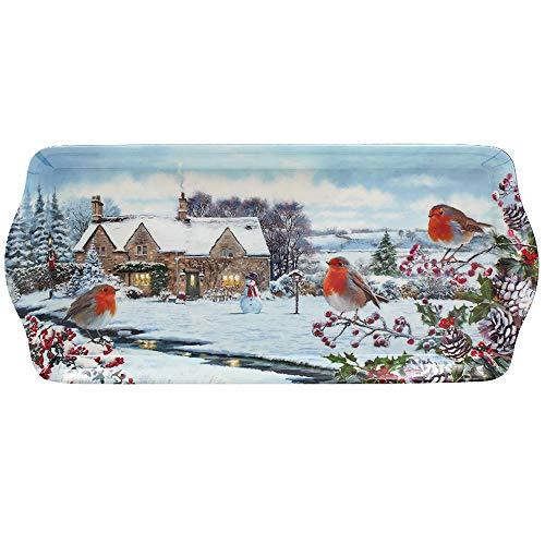 Bandeja grande para servir para nieve, invierno, 39 x 18 cm, con muñeco de nieve, acebo y bayas