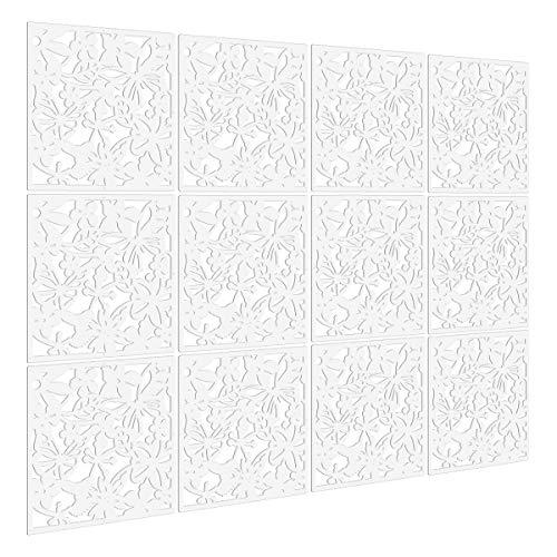 biombo de 12 paneles, KERNORV divisor habitación separador separación espacios divisoria pared (Blanco)