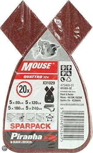 Black+Decker X31029-QZ - 20 hojas de lija para Mouse. Grano Surtido: 5 x G80, 5 x G120, 5 x G180 y 5 x G240. Madera, pintura y barniz.
