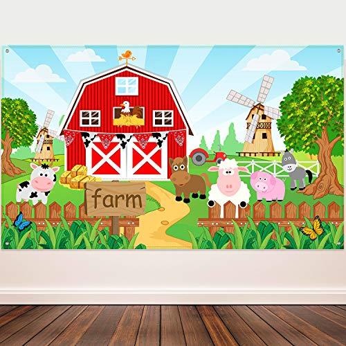 Blulu Decoración de Fiesta Temática de Animales de Granja, Pancarta de Fondo de Granero para Fiesta de Cumpleaños de Niños, 72,8 x 43,3 Pulgadas