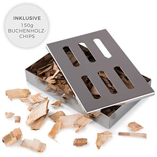 Blumtal Caja para Ahumar de Acero Inoxidable - Ahumador, Smoker Box para Barbacoas de Gas, Carbón y Leña | Apta Lavavajillas, Accesorios para Barbacoa (con virutas)