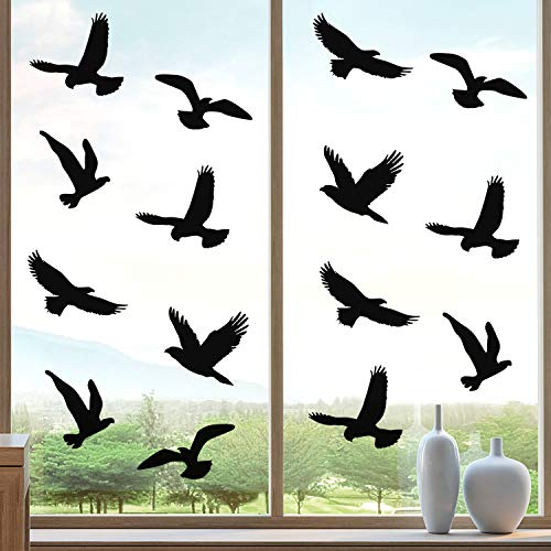 Boao 20 Calcomanías de Ventana de Anticolisión Pegatinas de Ventana en Forma de Pájaros Pegatinas de Ventana de Alerta de Aves para Prevención de Personas y Aves Golpes en Ventana Accesorios Fiesta