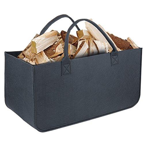 Bolsa de Fieltro, Diealles Chimenea Madera Cesta con Mango para Transportar Madera, Juguetes, Periódicos, Compras, 50 x 25 x 25 cm (Negro)