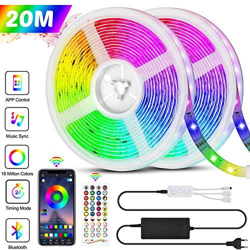 Bonve Pet 20M Tiras LED RGB 5050, Bluetooth Musical Tiras LED 24V 600 LEDs Tiras de Luces LED Iluminación, Control de APP y Remoto Control de 40 Teclas, 16 Millones de Colores, Modo de Horario