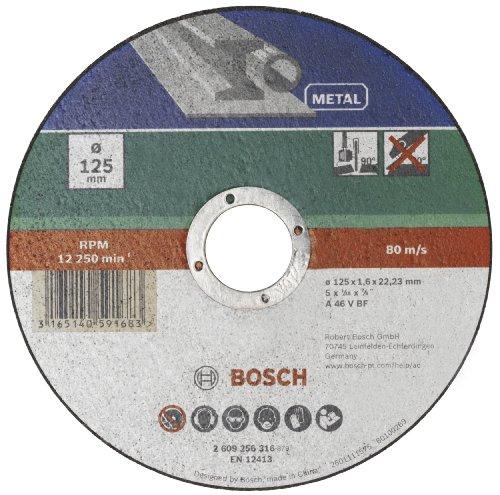 Bosch 2609256316 Corte del disco - Accesorios para amoladoras angulares (Corte del disco, Metal, Bosch, 2,22 cm, 12,5 cm, PWS 1000-125 CE PWS 1300-125 CE)