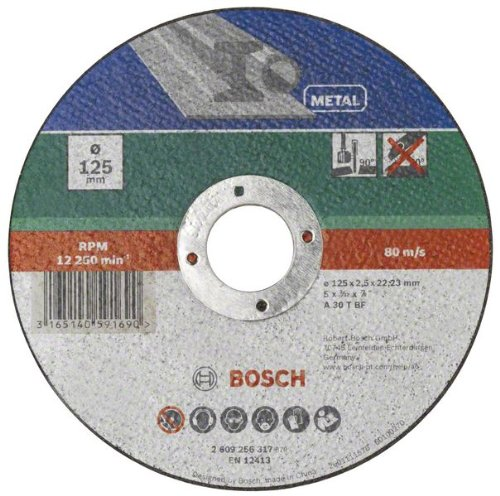 Bosch 2609256317 Corte del disco - Accesorios para amoladoras angulares (Corte del disco, Metal, Bosch, 2,22 cm, 12,5 cm, PWS 1000-125 PWS 1000-125 CE PWS 1300-125 CE)