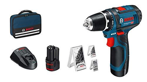 Bosch Professional GSR 12V-15 System - Taladro atornillador, incl. 2 x 2.0 batería + cargador, 39 pcs. juego de accesorios, en bolsa, Amazon Edición, 12 V