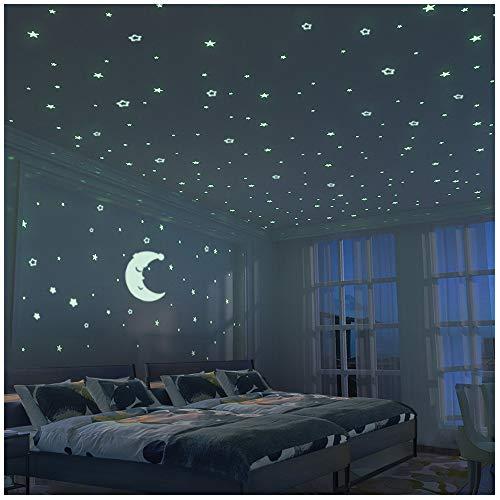 Brillante Estrellas y Luna Pegatina de Pared Para Dormitorio de Niños - 300 Más Brillante Estrellas - Luminosos Fluorescentes y Brillantes en la Oscuridad