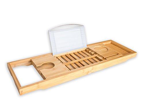 BRUMA #1 Bandeja de baño Premium Bandeja para Bañera de Bambú - Accesorio para Bañera con Soporte para Copa de Vino, Libros, Tablet y móvil. 2 Años de Garantía