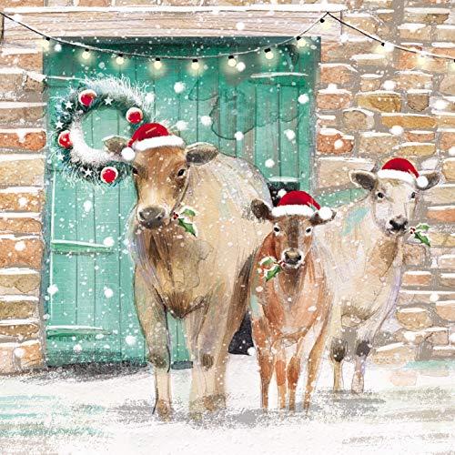 Caja de 20 tarjetas de Navidad artísticas caridad – Granero de vaca en el Haystack – 20 tarjetas, 10 cada uno de 2 diseños – de The Almanac Gallery