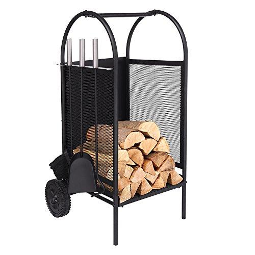 Carro de leña con ruedas, estante de leña con 3 herramientas Porta chimeneas Soportes para portaequipajes Conjunto de herramientas para chimenea de hierro forjado negro (With Wheel)