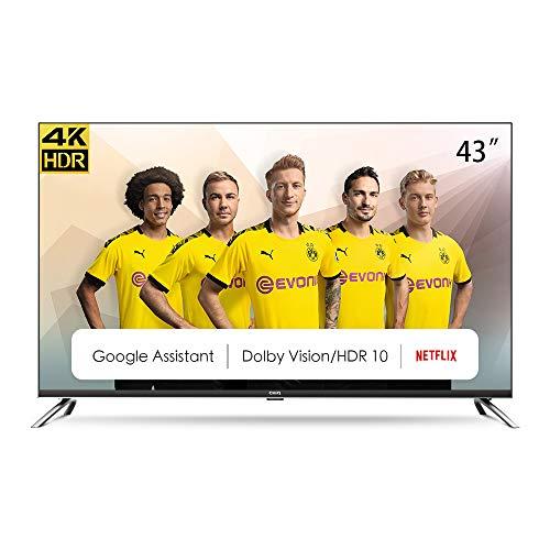 CHiQ Televisor Smart TV LED 43 Pulgadas, 4K UHD, HDR10/HLG, Android 9.0, WiFi, Bluetooth, 3 x HDMI, 2 x USB - U43H7A