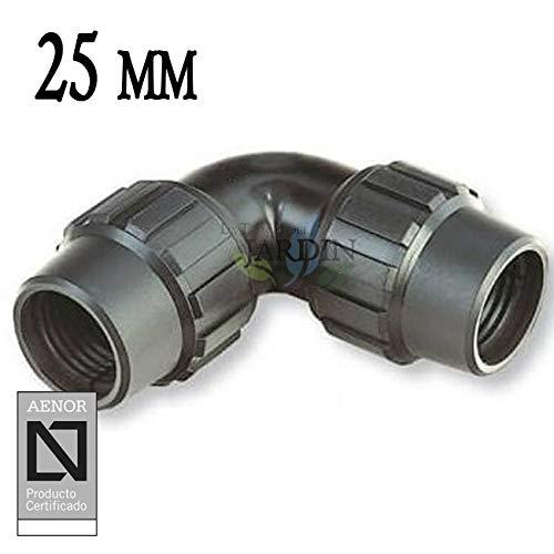 """CODO igual POLIETILENO 25MM. Producto con certificado AENOR utilizado en tuberías PE 25 mm 3/4"""" para uso fontanería, riego y obras."""