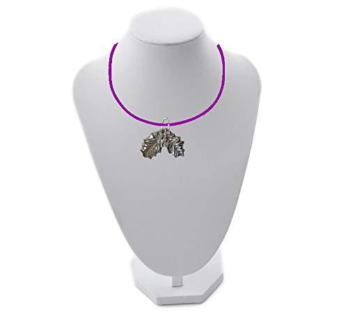 Collar grande con hojas de acebo FT69, 3,5 x 2,2 cm, hecho de peltre inglés en 45,7 cm, color morado
