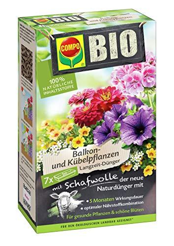 Compo Jardín Fertilizante Bio Plantas de balcón y de cubeta (Largo Tiempo de Abono con Lana de Oveja, 750g, Verde, 6.4x 14.2x 24cm, 20824