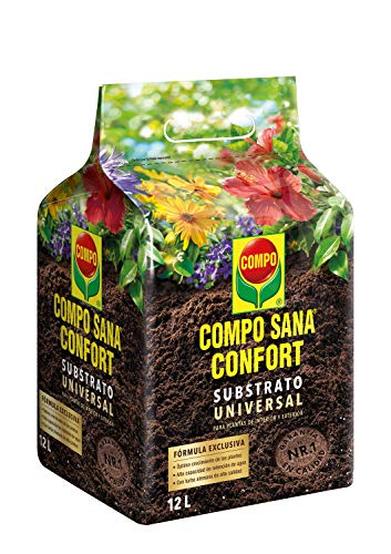 Compo Sana Confort Universal Calidad para macetas con 12 semanas de abono para Plantas de Interior, terraza y jardín, Substrato de Cultivo, 12 L