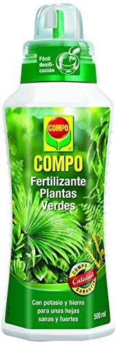 Compo Verdes para Plantas de Interior, balcón y terraza, Fertilizante líquido con Extra de potasio y Hierro, 500 ml, 1443112011