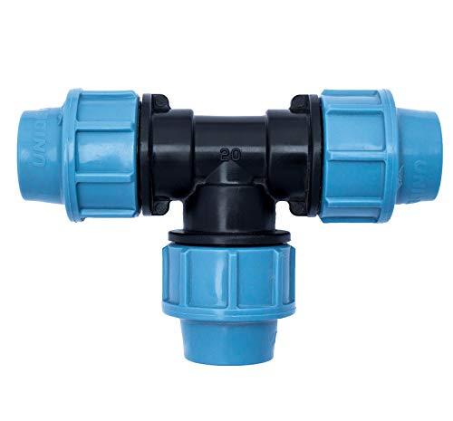 Conector de tubería de agua PP Pieza en T con tres salidas hembra (3 x 20 mm) | Conector de abrazadera para tuberías de PE | PP enchufe de ½ pulgada |