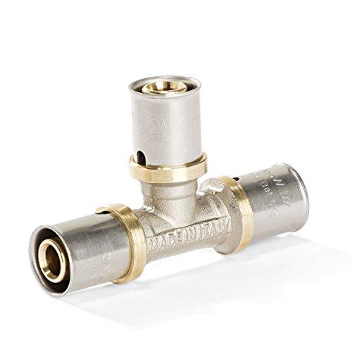 Conexión en T para tubo multicapa de aluminio, unión prensada, 16/20/26/32, DVGW