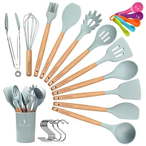 CORAFEI Utensilios de cocina silicona y madera, espátula, cuchara, cucharón, batidor, pinza para espagueti, olla de almacenamiento, 5 cucharas de medir y ganchos - 12 Piezas