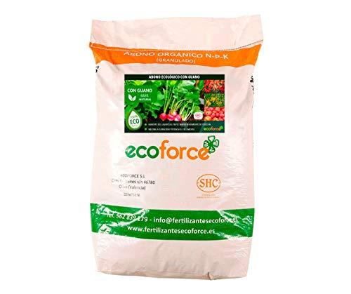 CULTIVERS Abono Ecológico con Guano de 25 kg. Fertilizante Universal de Origen 100% Orgánico y Natural para Huerto y Jardín. Alta concentración de NPK.