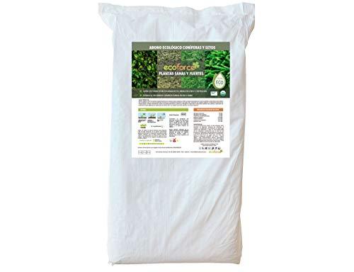 CULTIVERS Abono Ecológico Especial de 25 Kg Coníferas y Setos (Pinos, Abetos, Cipreses y Tuyas). Origen 100% Orgánico y Natural con Alta Concentración de NPK