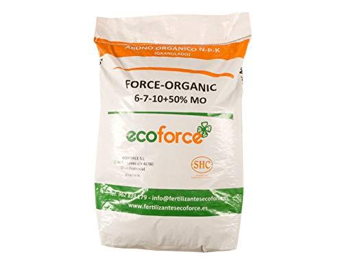 CULTIVERS Force Organic de 25 kg. Abono Universal Ecológico para Plantas de Exterior micro granulado con NPK (6-7-10) + 50% Materia orgánica y Micro Elementos. 100% Orgánico y Natural