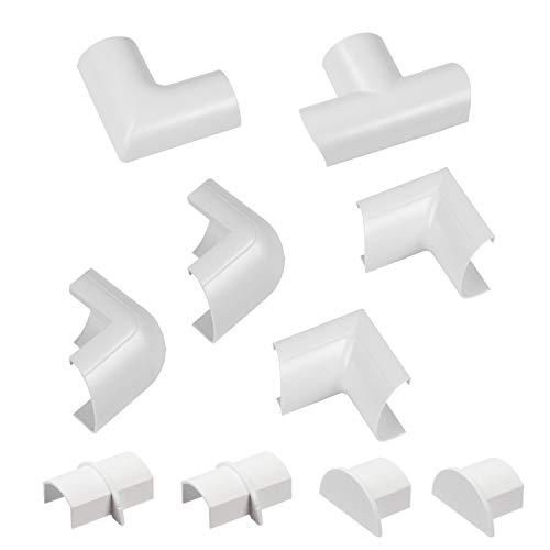 D-Line Mini Multipaquete de accesorios para cables de 30x15mm Mini | 10 piezas de accesorios de montaje eléctrico, multipaquete, color blanco