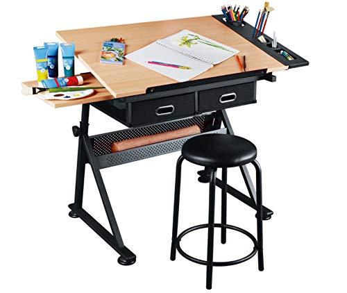 Dawoo Mesa de Dibujo de Teca Mesa de Dibujo lámpara de Mesa inclinable de Escritorio Ajustable en Altura W/Banco y cajón Leyendo cartón y Mesa de Trabajo Manual de Arte(Toma UN Taburete)