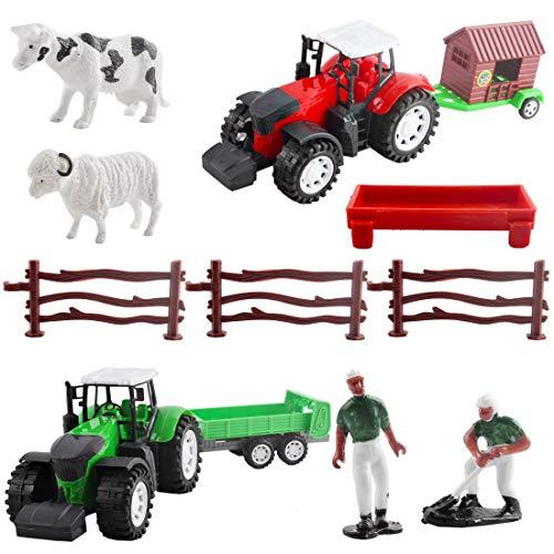 deAO Juego de Granja con Vehículos a Fricción Conjunto 2en1 Incluye Tractores, Figura de Granjero, Animales y Accesorios de Rancho