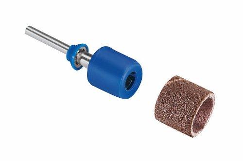 Dremel SC407 Mandril y bandas de Lija EZ Speedclic, juego de accesorios para herramienta rotativa con 1 mandril y 2 bandas de lija 13 mm para eliminación material en aluminio, cobre, madera, plástico