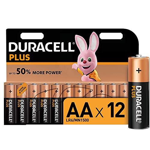 Duracell Plus AA - Pilas Alcalinas paquete de 12, 1.5 Voltios LR06 MX1500