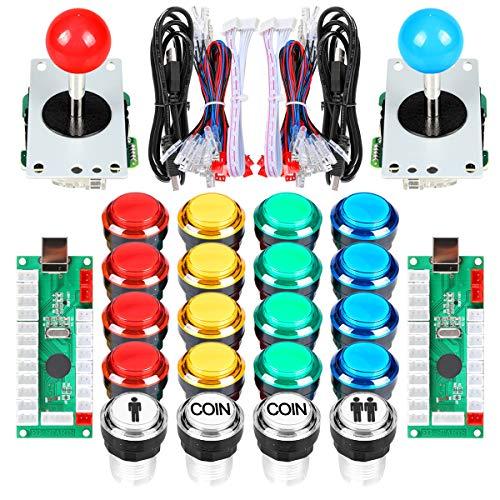 EG STARTS 2 Player Classic Arcade DIY Kit USB Encoder to PC 2x 5 Pin Joystick Games + 16x 30mm 5V LED Botón iluminado 1 + 2 jugadores Botones de monedas para Raspberry Pi 1 2 3 3B Mame Fighting Stick