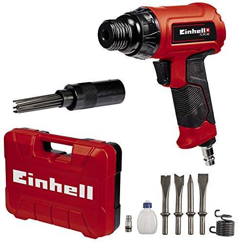 Einhell TC-PC 45 Set, Cinceladora neumática (incluye juego de cinceles de 120 mm de 4 piezas, accesorio para usar como martillo de agujas, botella de aceite, boquilla, muelle tensor y maletín)