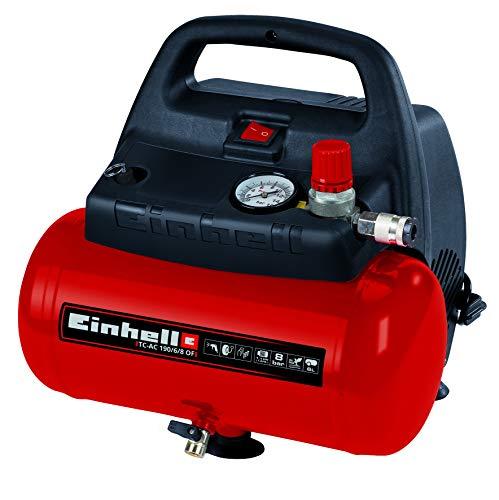 Einhell TH-AC 190/6 OF - Compresor de aire, 8 bar, depósito 6 l, aspiración 185 l /min, 1100 W, 230 V, color rojo y negro