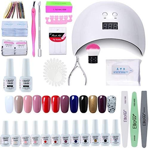 Elite99 Lámpara UV LED para Uñas 24w, 12 Colores Kit de Esmaltes Semipermanentes en Gel UV LED, Base y Top Coat, Removedor de Uñas 003