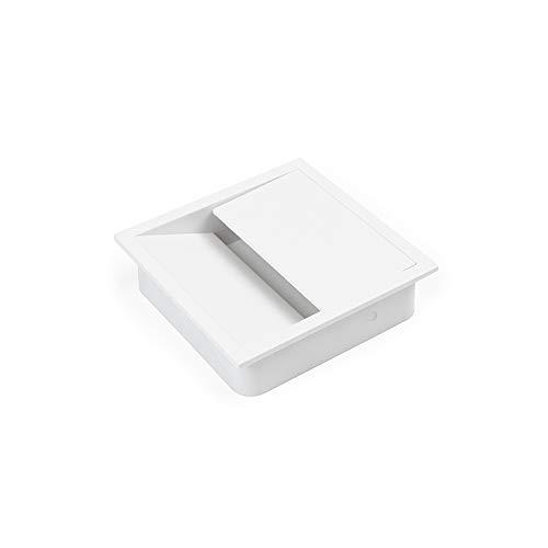 Emuca - Tapa pasacables para encastrar en escritorio/mesa, organizador de cables para mueble, varias medidas y acabados (85x85mm (1 un), Blanco)