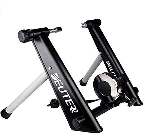 Entrenamiento Bicicleta Rodillo, Bicicleta Fija Soporte estacionario para Montar en el Interior, Portátil, Pincho de liberación rápida y Bloque Elevador de la Rueda Delantera Incluido,Black…