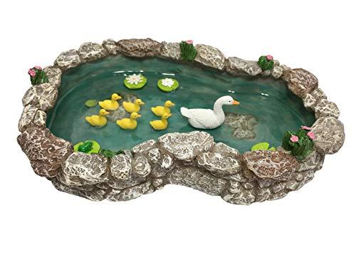 Estanque de Patos - Pata Madre y Patitos. Un Estanque de Patos para Jardín de Hadas en Miniatura y Accesorios para Jardines en Miniatura de GlitZGlam.