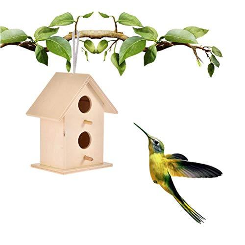Fangteke Casas para pájaros para Colgar Caseta para pájaros en Madera, Nido Colgante Pajarera para Decoraciones de jardín al Aire Libre, 11 x 8,5 x6 cm