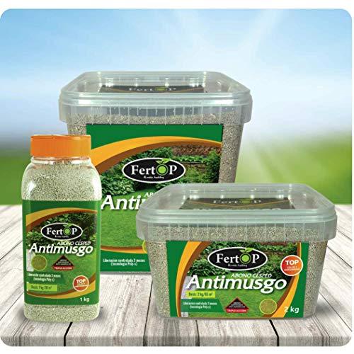 FertOP® - Abono para Césped, AntiMusgo, Fertilizante de Liberación Lenta, 6 Semanas. (Envase 2Kg/70m²)