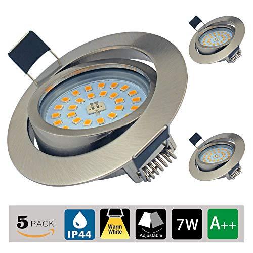 Focos Empotrables LED, Juego de 3, 7W LED Luz de Techo Blanco Cálido 3000K 600LM 230V Agujero Abierto Tamaño 75 mm No regulable, Downlights Giratorios IP44 Para Baño de Habitacion