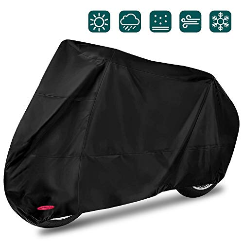 Funda para Moto Cubierta Protectora UV de la Motocicleta,Impermeable y Resistente al Viento Lluvia Nieve,Antipolvo al Aire Libre,XXL 245X105X125cm,Negro