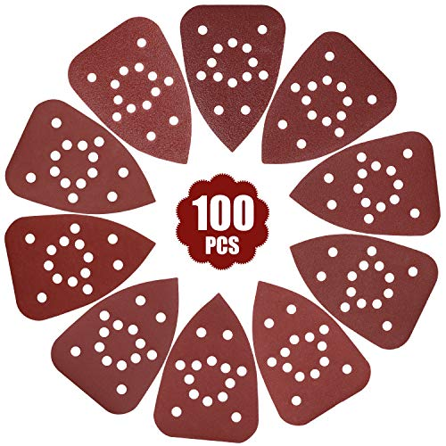 GALAX PRO Papeles de Lija, 100pcs de Papel de Lija con Detalle de 14 Agujeros, 10 Hojas por Grano, Almohadillas de Lijadora de Mouse para Adaptarse a la Herramienta Multiuso Oscilante